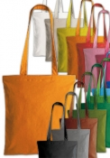 Shopper in cotone pesante manici lunghi  con soffietto