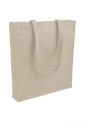 Shopper in cotone pesante manici lunghi  con soffietto, natural